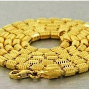 """14k Gold Real 925 26"""" 4mm Barrel Chain Necklace"""